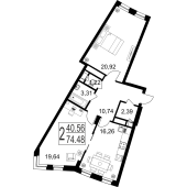 2-комнатная квартира 74,48 м²