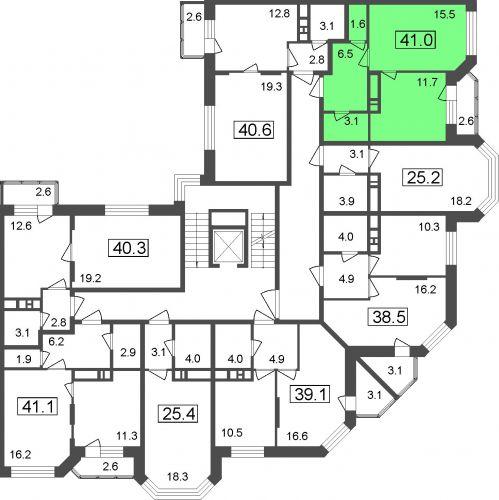 1-комнатные апартаменты, 38,4 м² за 2,96 млн руб.
