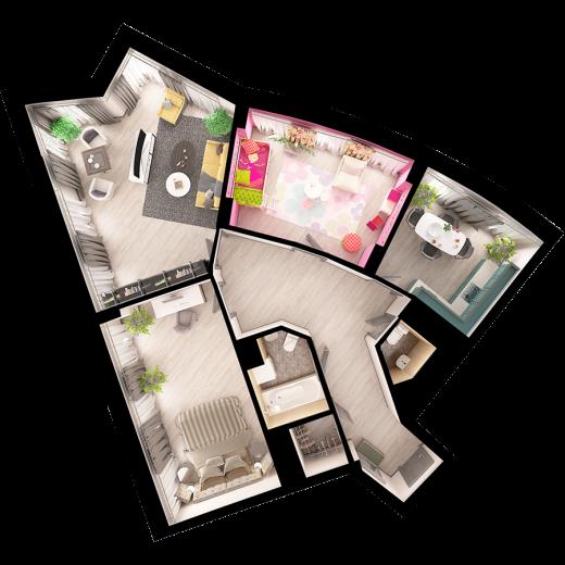 3-комнатная квартира № 67