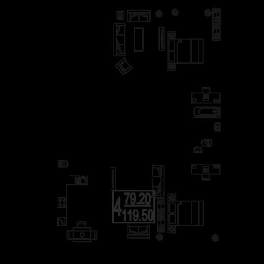 4-комнатная квартира № 120