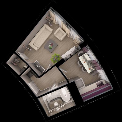 1-комнатная квартира № 58
