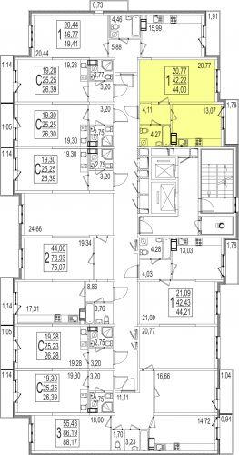 1-комнатная квартира, 44,0 м² за 2,86 млн руб.