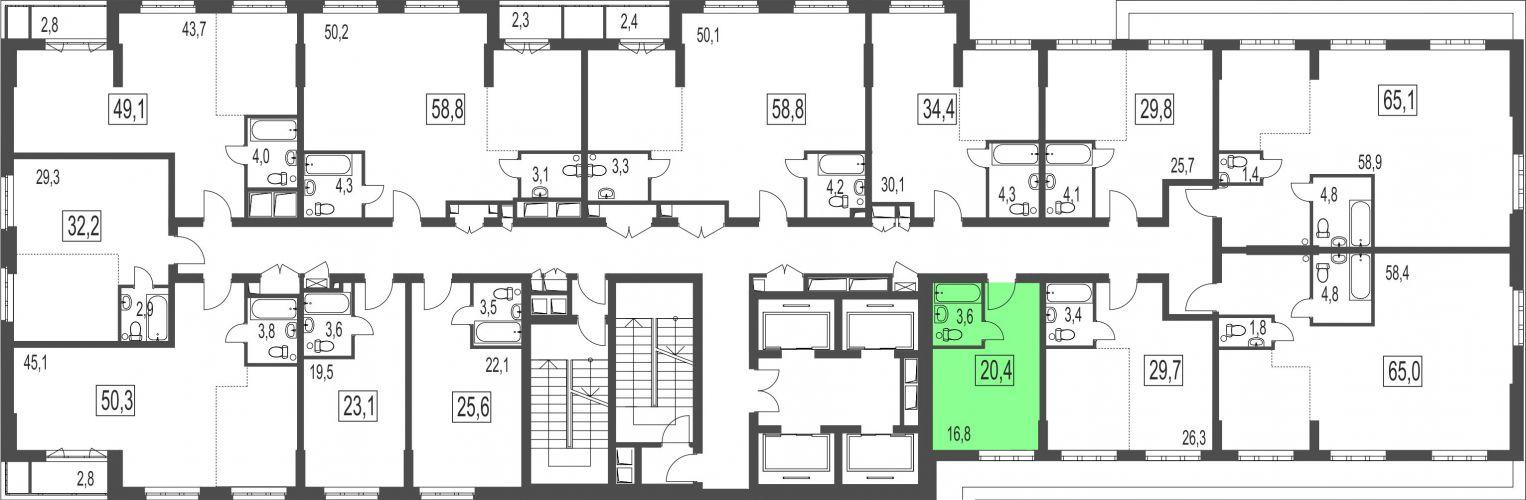 Квартира-студия, 20,4 м² за 3,20 млн руб. в ЖК «Сказочный лес» - расположение в секции