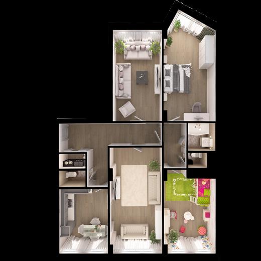 4-комнатная квартира № 105