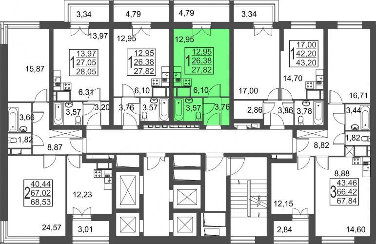 Квартира-студия, 27,8 м² за 2,95 млн руб.