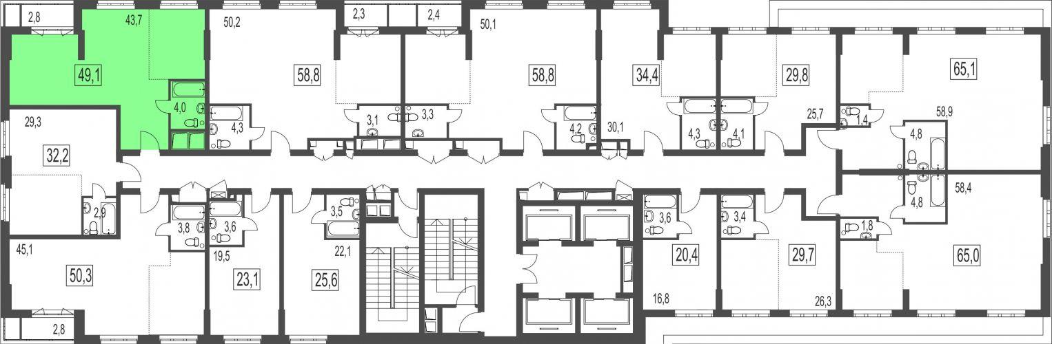 2-комнатная квартира, 49,1 м² за 5,74 млн руб.