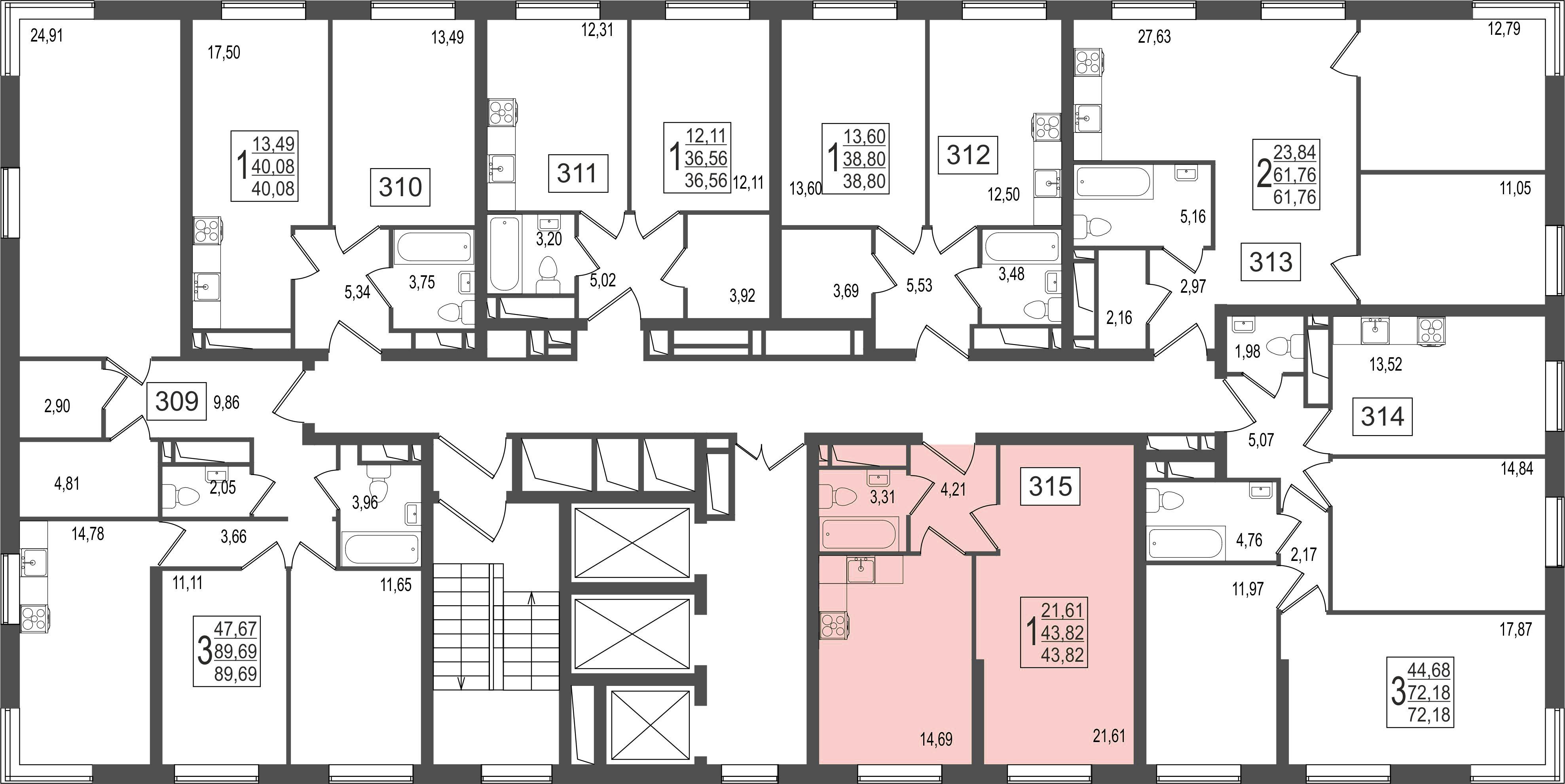 1-комнатная квартира, №141