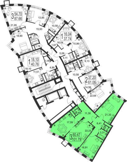 3-комнатная квартира № 40