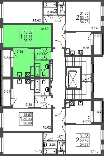 1-комнатная квартира, 37,0 м² за 3,14 млн руб.