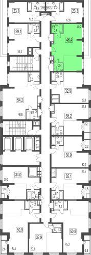 2-комнатная квартира, 46,4 м² за 5,43 млн руб.