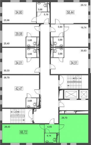 2-комнатные апартаменты, 66,7 м² за 8,47 млн руб. в ЖК «Город» - расположение в секции