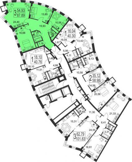 3-комнатная квартира № 22
