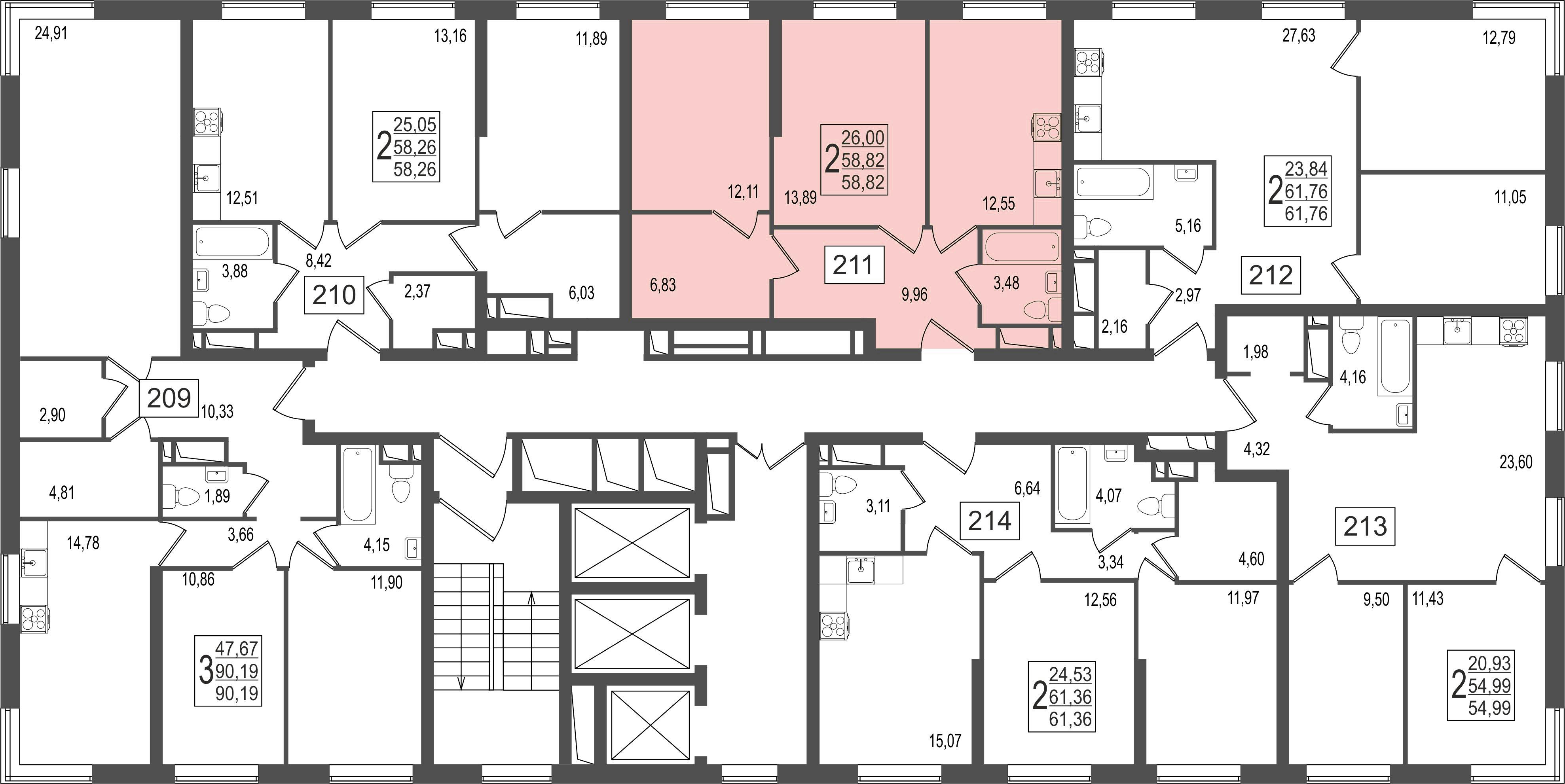 2-комнатная квартира, №37