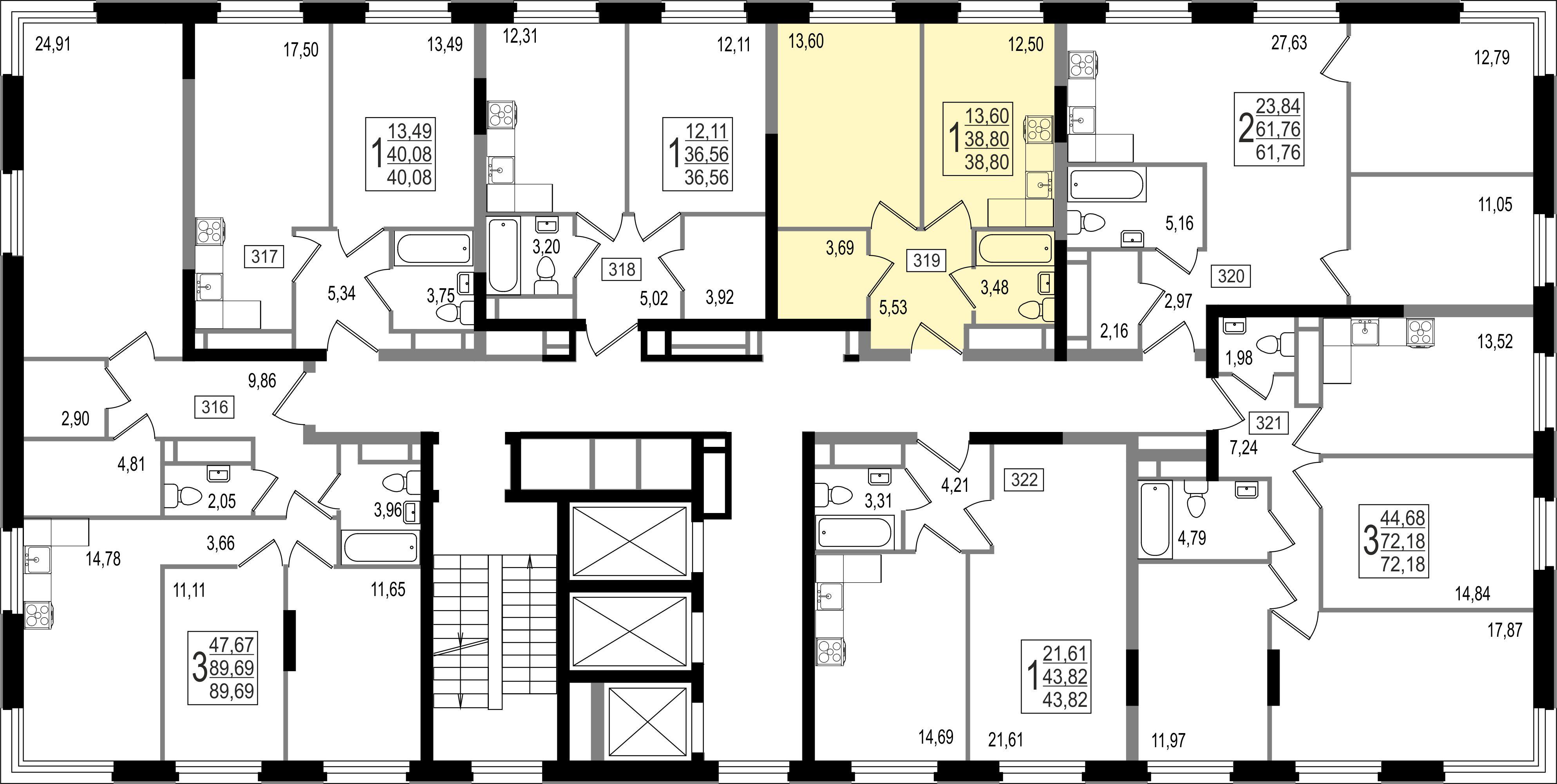 1-комнатная квартира, №145