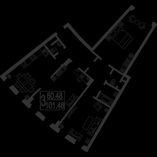 3-комнатная квартира № 5