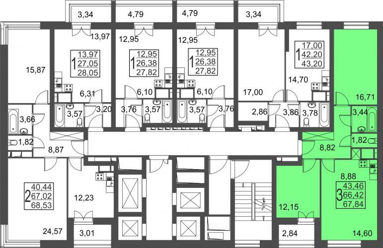 3-комнатная квартира, 67,8 м² за 5,11 млн руб.