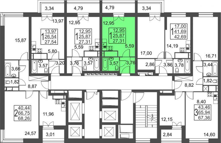 Квартира-студия, 27,3 м² за 3,22 млн руб.