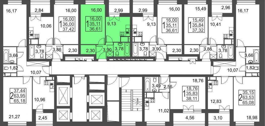 1-комнатная квартира, 36,6 м² за 3,39 млн руб.