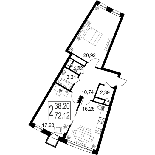 2-комнатная квартира № 115
