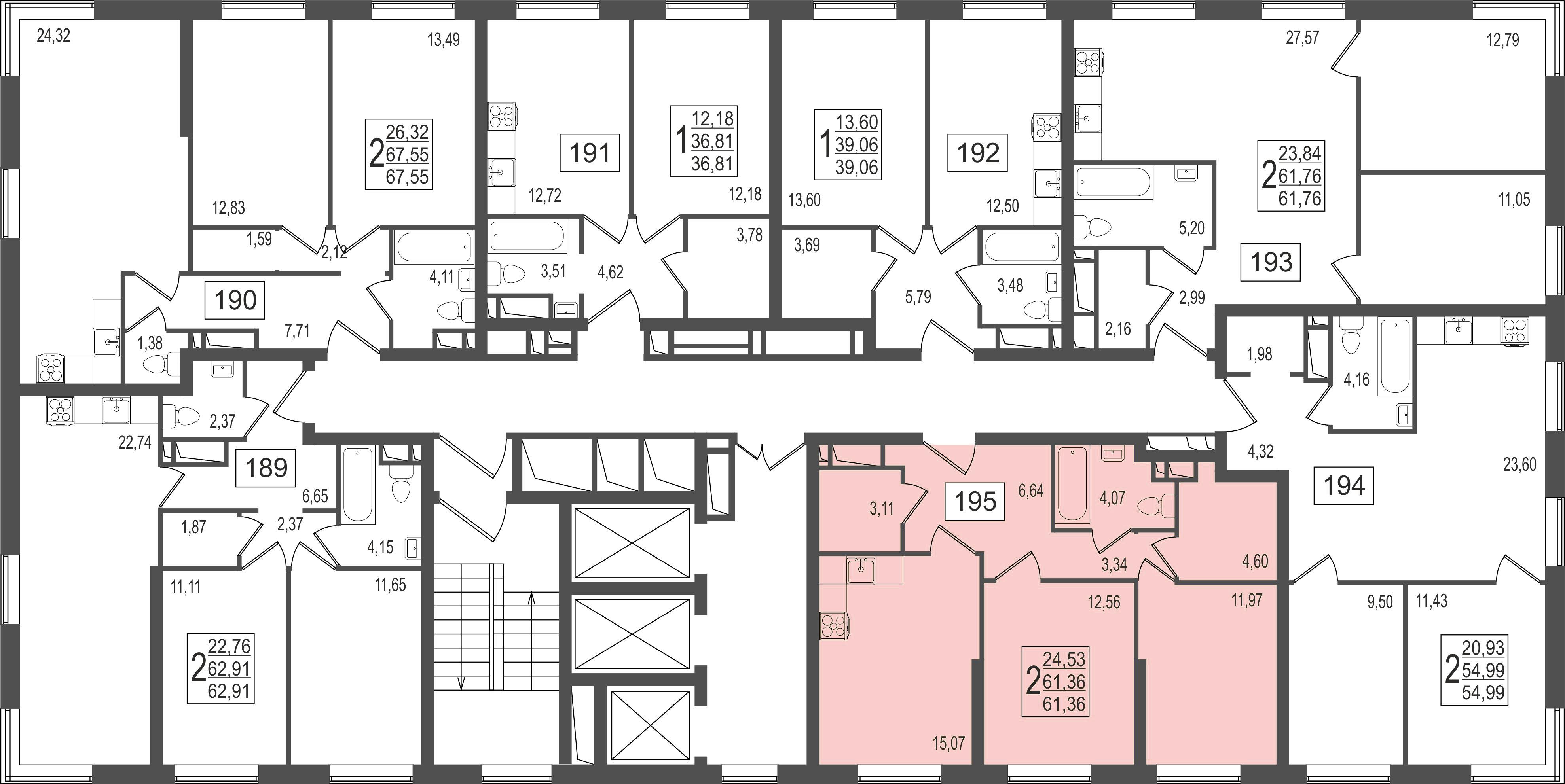 2-комнатная квартира, №21