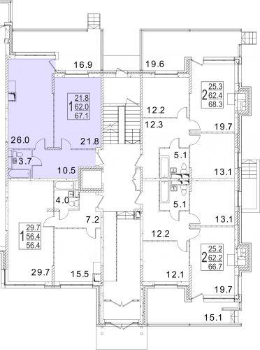 1-комнатная квартира, 67,1 м² за 6,17 млн руб. в ЖК «Сказка» - расположение в секции