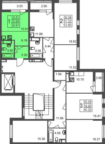Квартира-студия, 24,9 м² за 2,15 млн руб.
