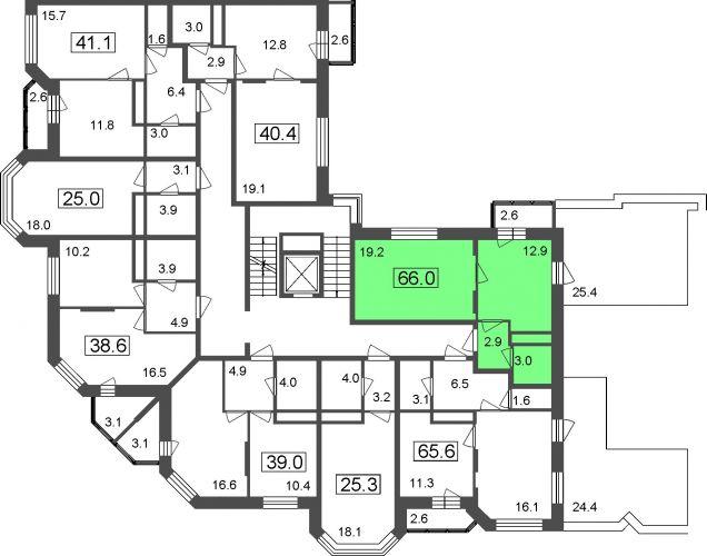 1-комнатные апартаменты, 66,0 м² за 3,80 млн руб.
