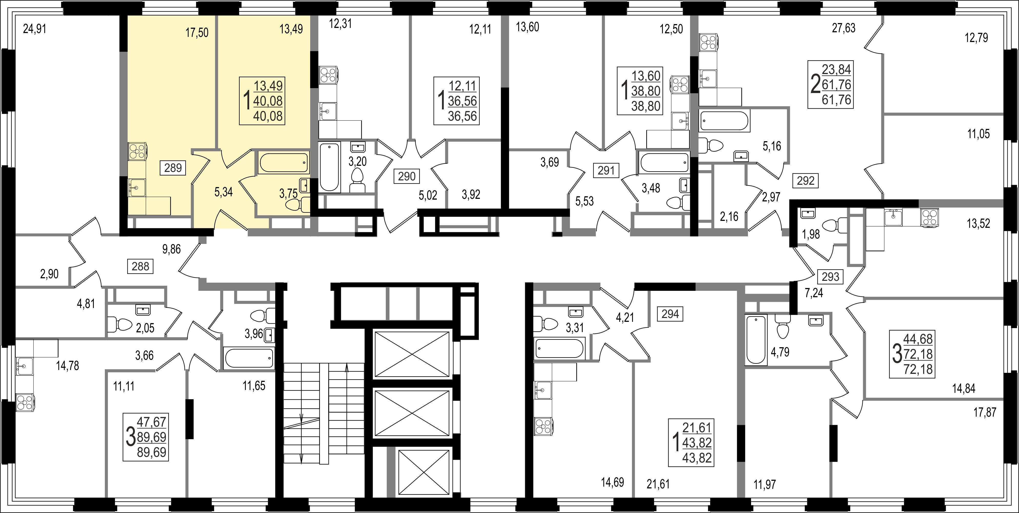 1-комнатная квартира, №115