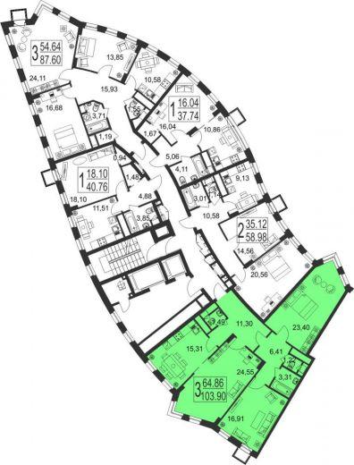3-комнатная квартира № 20