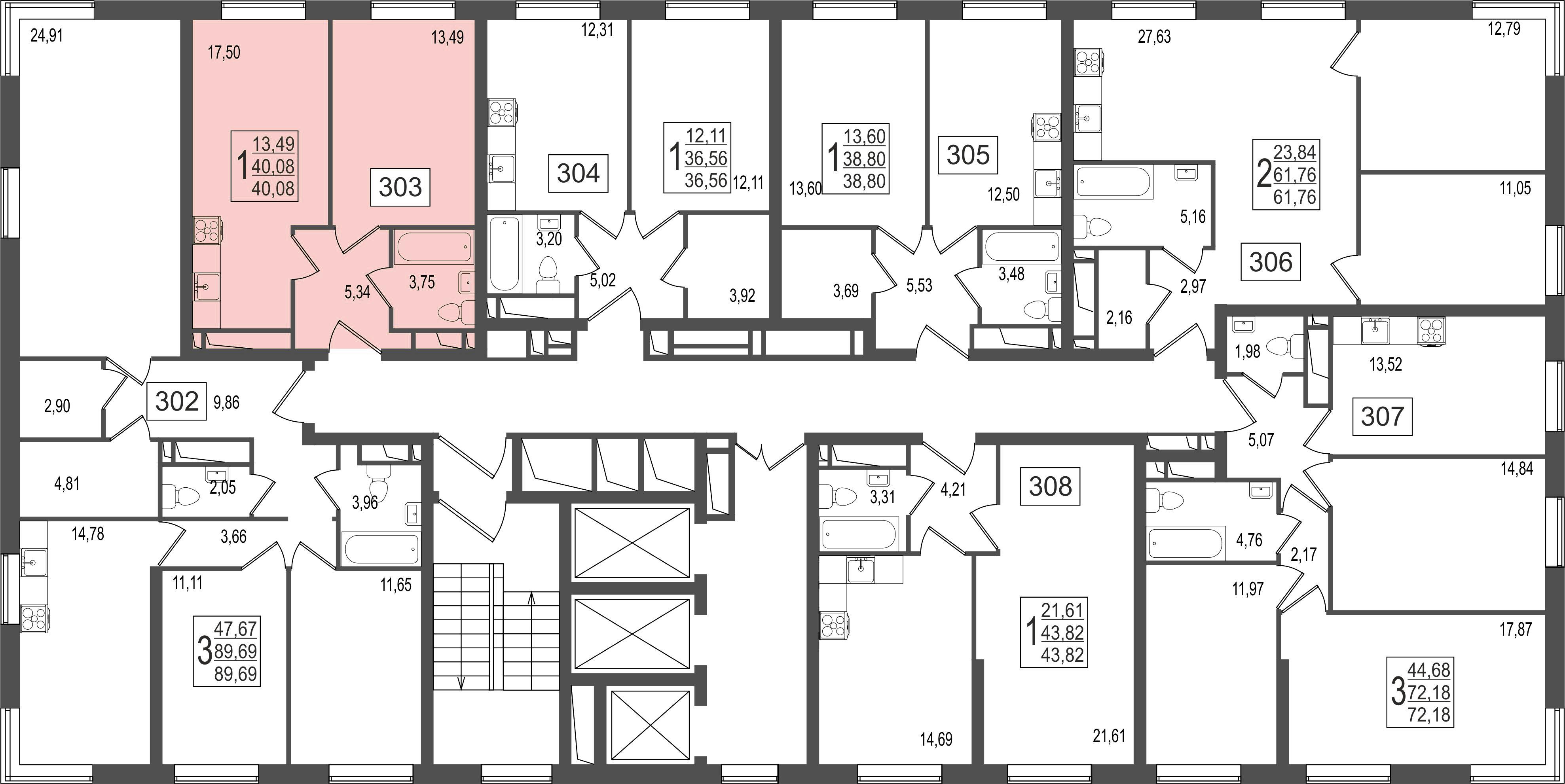 1-комнатная квартира, №129