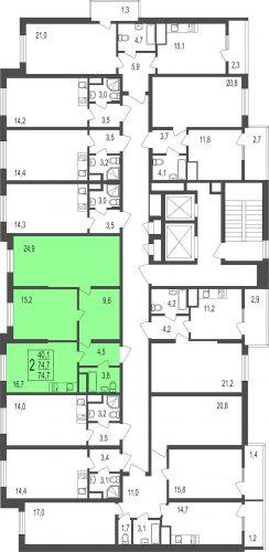 2-комнатная квартира, 73,9 м² за 4,07 млн руб. в ЖК «Андреевка» - расположение в секции