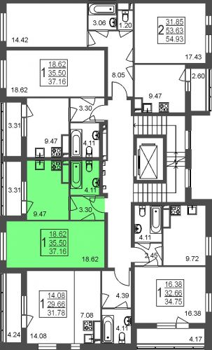 1-комнатная квартира, 37,2 м² за 3,42 млн руб. в Мкр. «Красногорский» - расположение в секции
