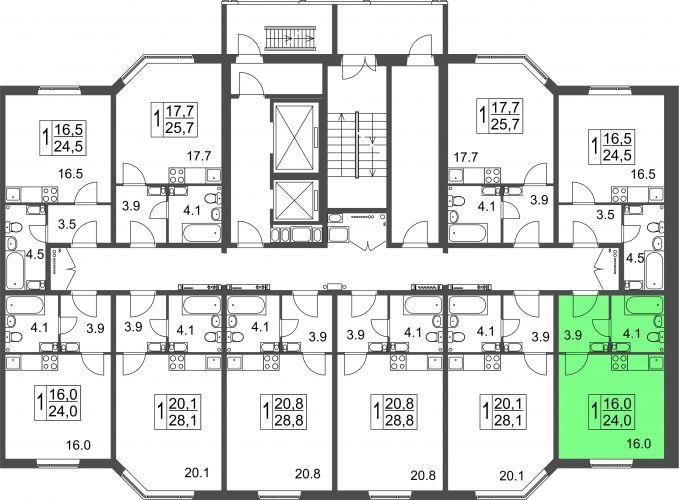Квартира-студия, 24,0 м² за 1,10 млн руб.