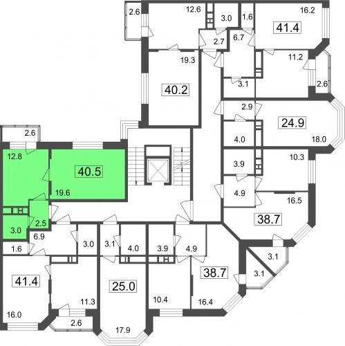 1-комнатные апартаменты, 37,9 м² за 2,83 млн руб. в ЖК «Мытищи Lite» - расположение в секции