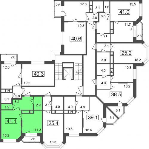1-комнатные апартаменты, 38,5 м² за 2,96 млн руб.