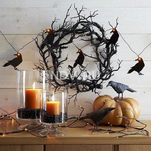 Черный ворон, паутина и тыква. Страшно красивый декор