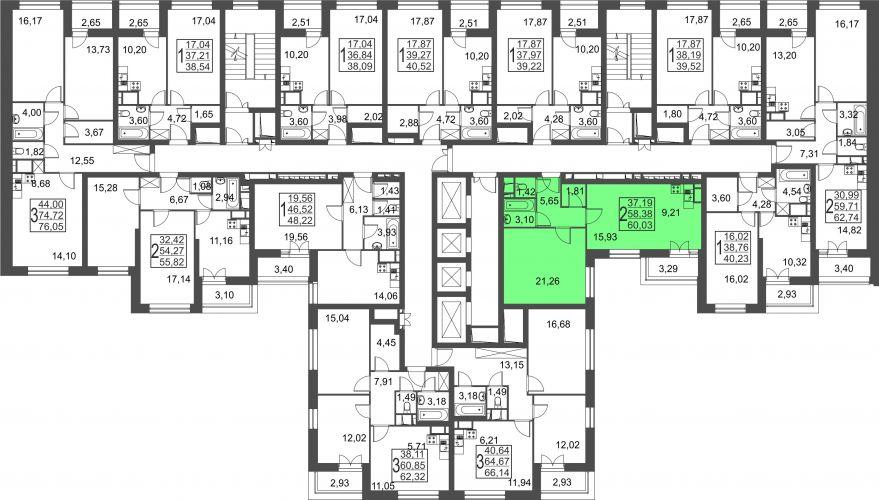 2-комнатная квартира, 60,0 м² за 4,53 млн руб.