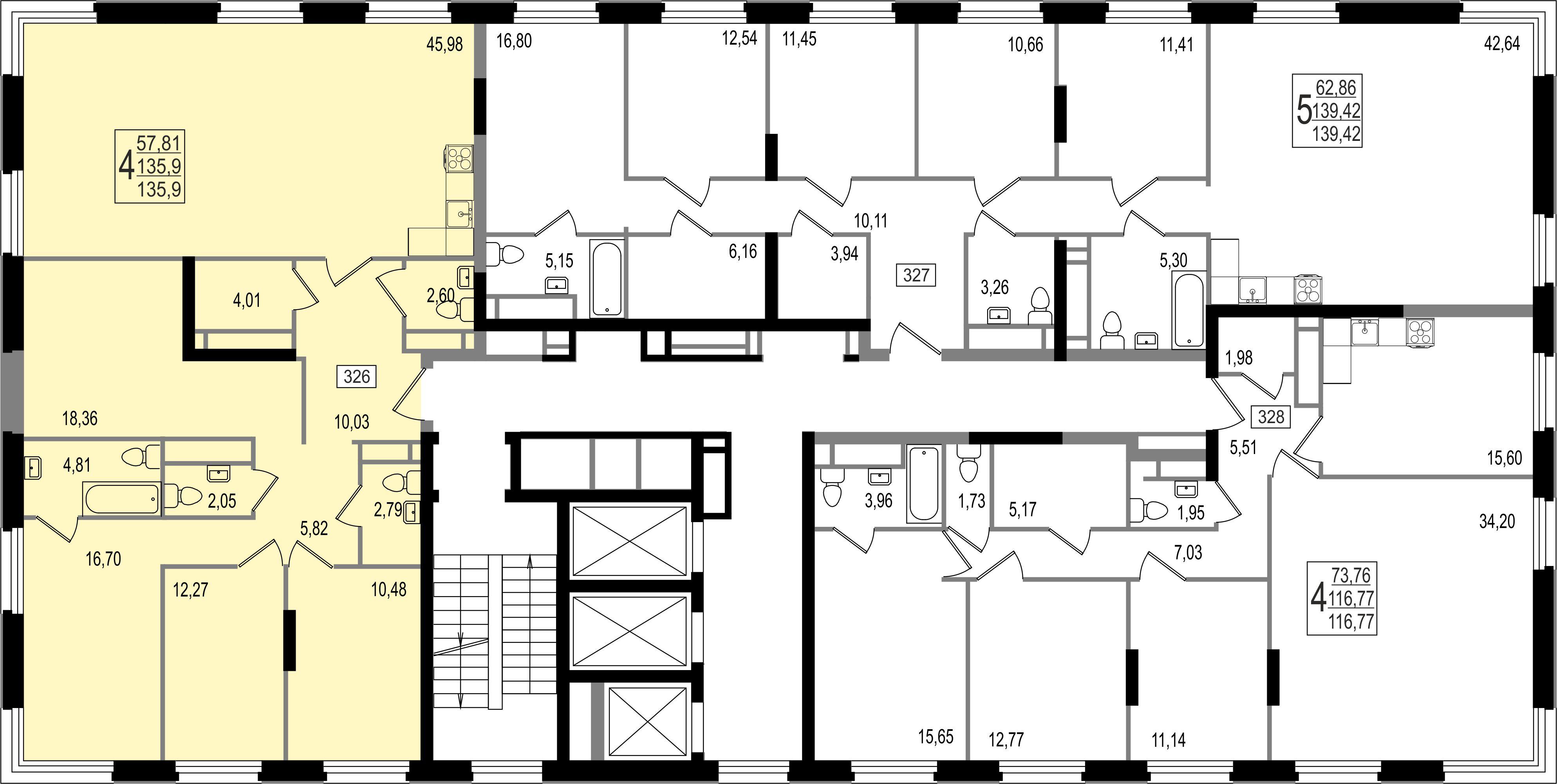4-комнатная квартира, №152