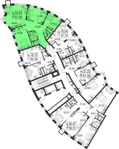 3-комнатная квартира № 57
