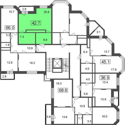 1-комнатные апартаменты, 39,9 м² за 3,21 млн руб.