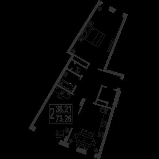 2-комнатная квартира № 86