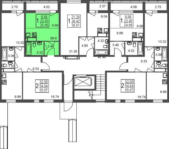 Квартира-студия, 25,5 м² за 2,00 млн руб.