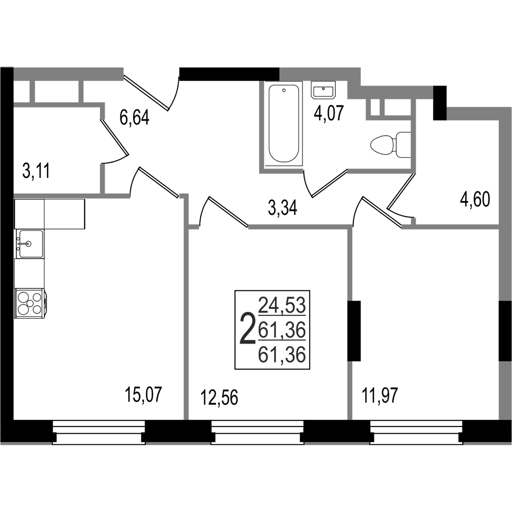 2-комнатная квартира, №7