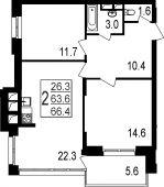 2-комнатная квартира 66.4 м²