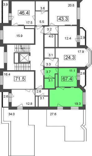 1-комнатные апартаменты, 67,4 м² за 3,99 млн руб.