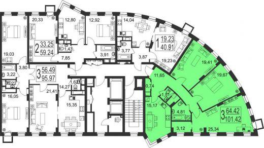 3-комнатная квартира № 155