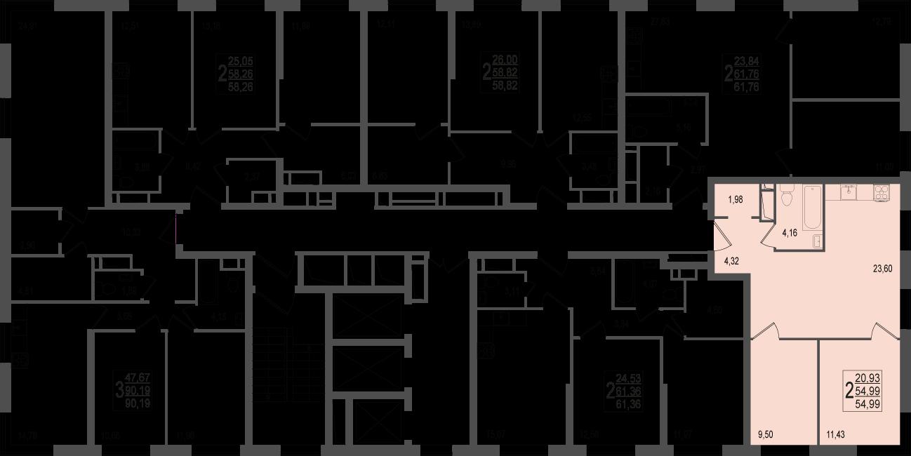 2-комнатная квартира, №33