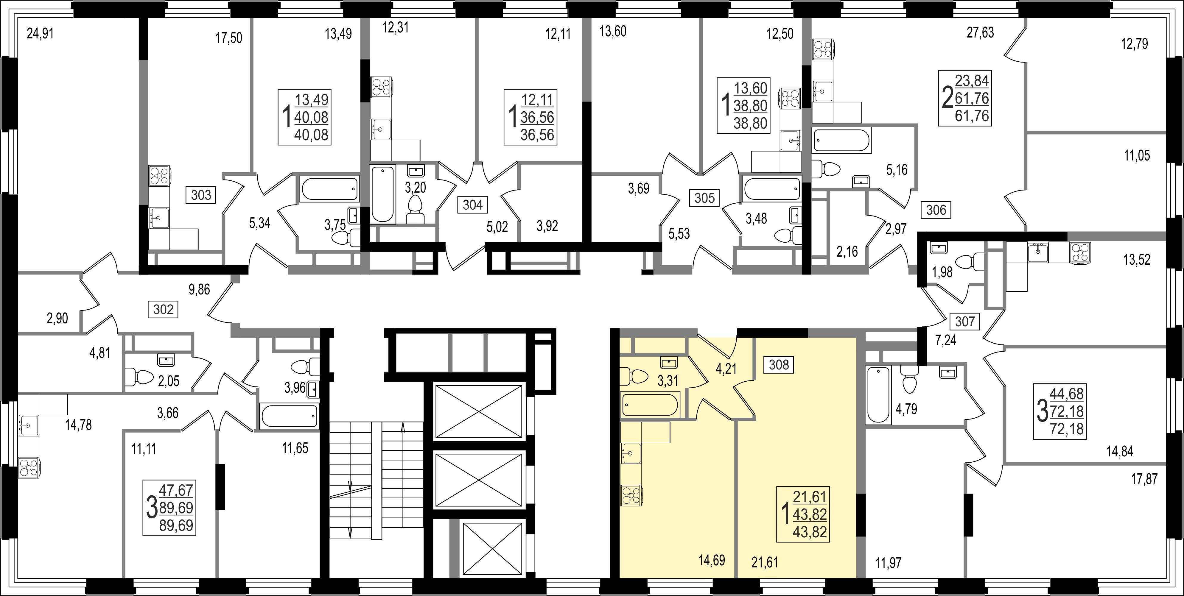 1-комнатная квартира, №134