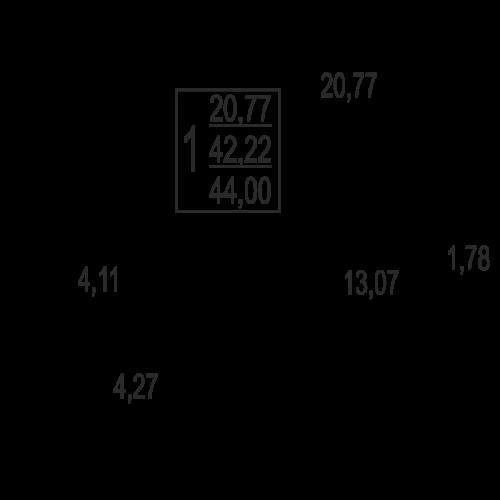 1-комнатная квартира, 44,0 м² за 2,86 млн руб. в ЖК «Андреевка» - планировка