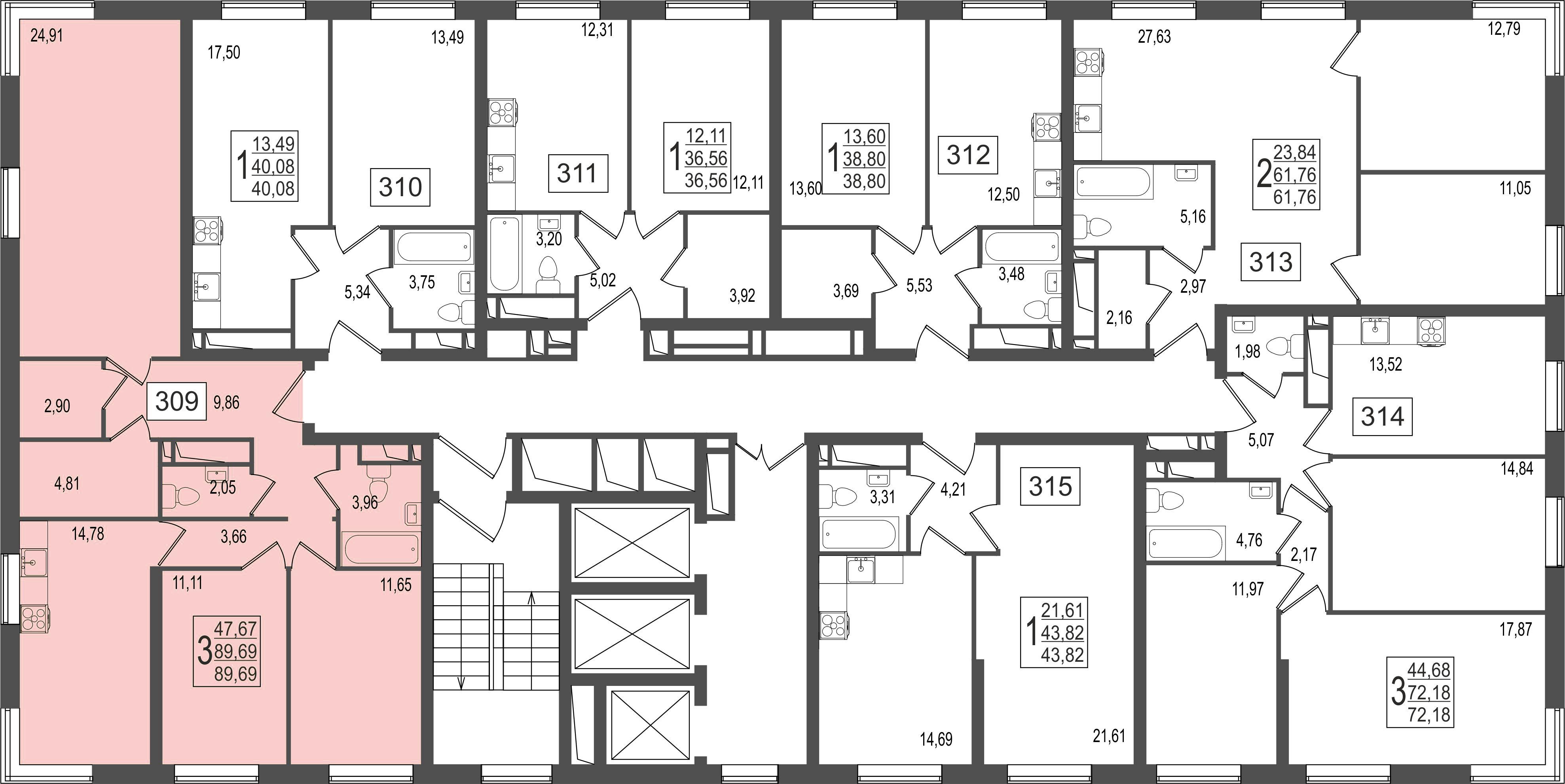 3-комнатная квартира, №135